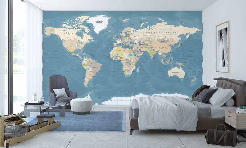 Highly Detailed Vintage Style World Map Wall Mural