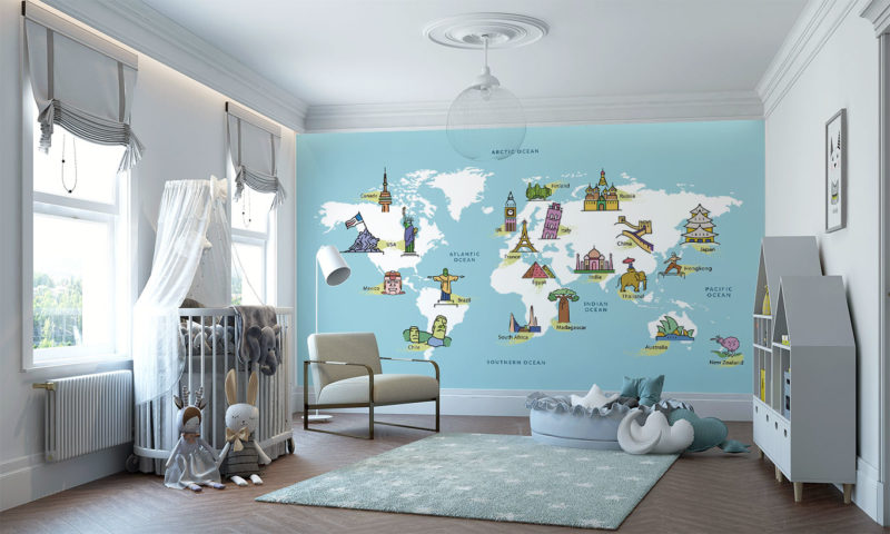 World Map with Famous Landmarks Wall Art
