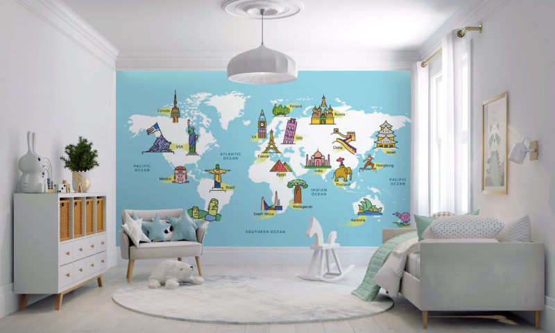 World Map with Famous Landmarks Wall Mural
