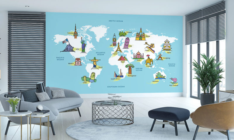 World Map with Famous Landmarks Wallpaper