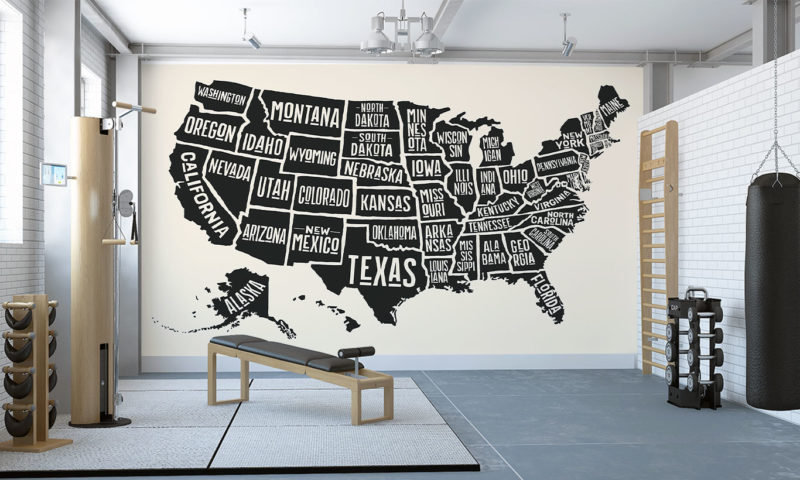Map of the States of the USA Mural Wallpaper