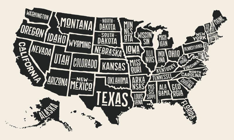 Map of the States of the USA Wallpaper Mural