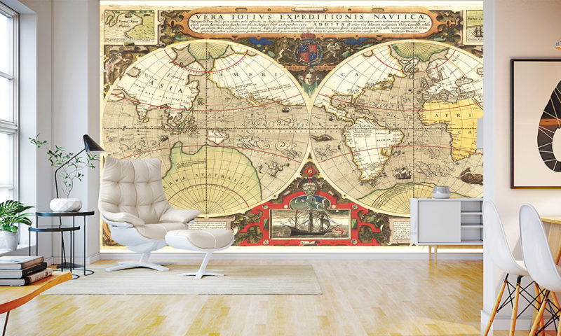 Ancient Map of the World Mural