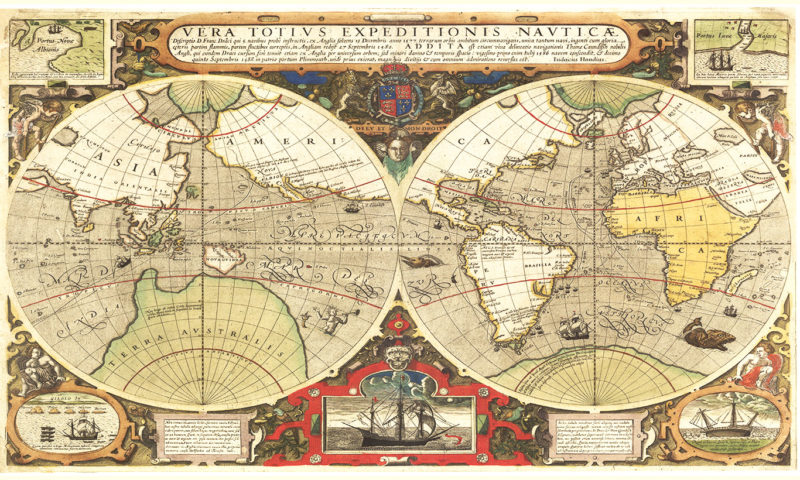 Ancient Map of the World Wallpaper Mural