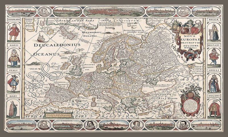 17th Century map of Europe Mural