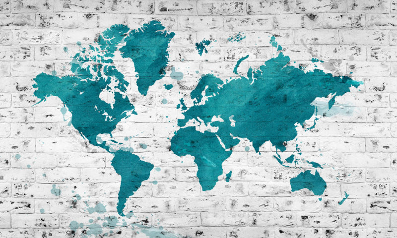 World Map on White Brick Wall Mural