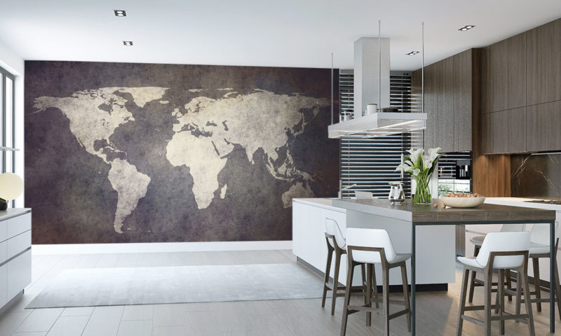 Classy Old World Map Mural