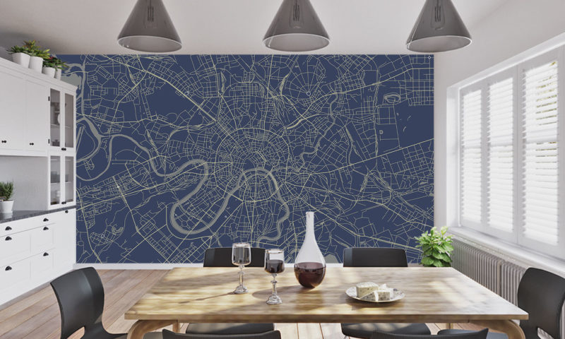 Moscow Map Wallpaper Mural