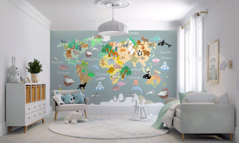 Grey Background Map Wall Mural