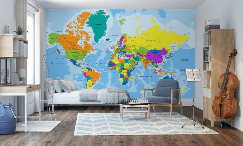 Countries Map Wall Mural