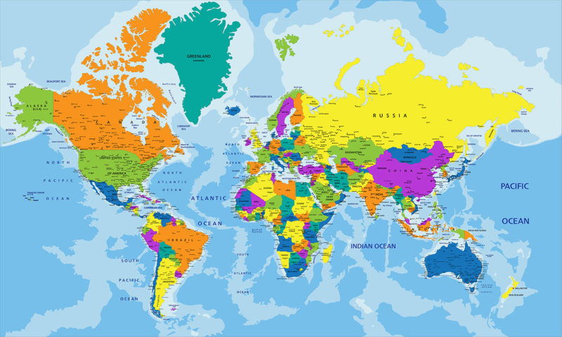 Countries Map Wall Art