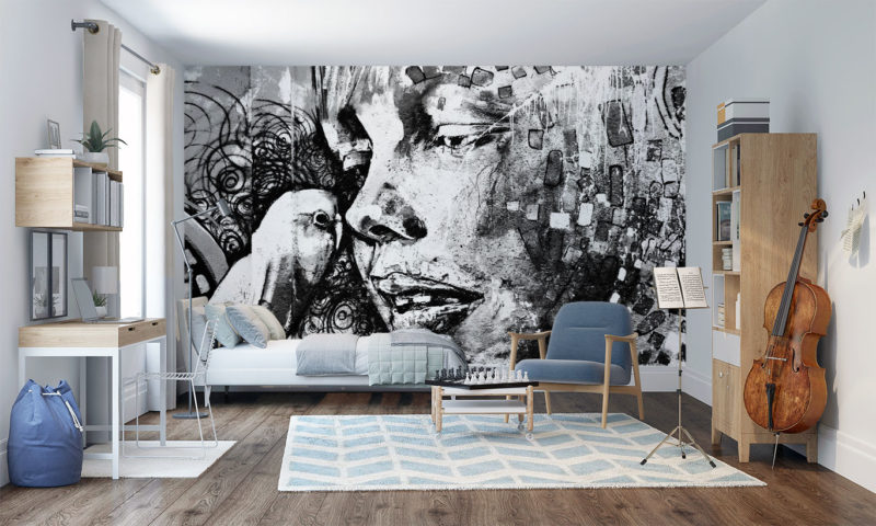 Black and White Graffiti Portrait of a Boy and Bird Wall Mural