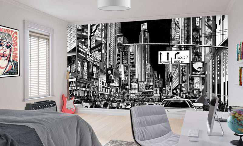 Busy Cityscape Comic-styled Mural Art