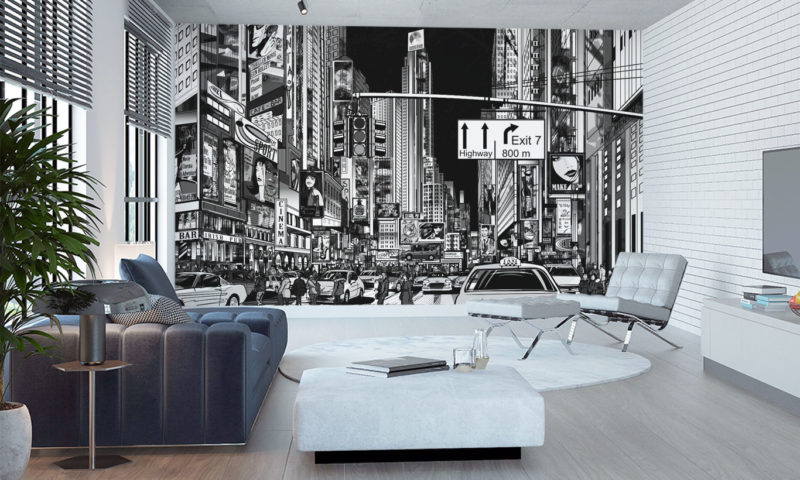 Busy Cityscape Comic-styled Wall Mural