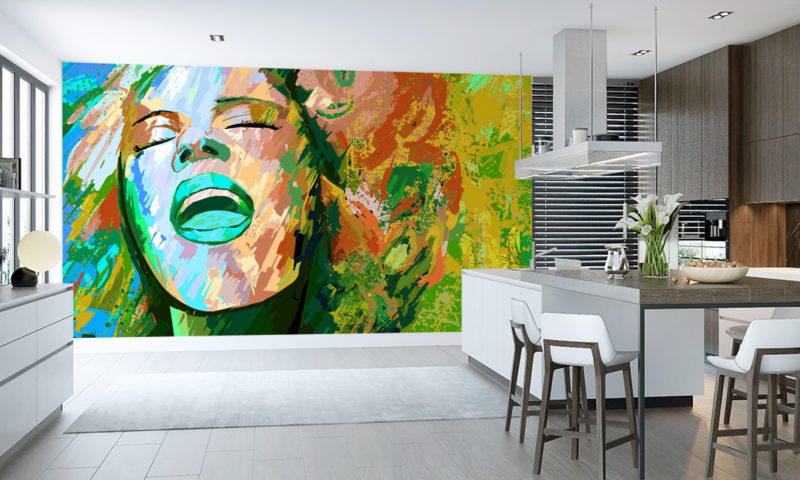 Colourful Pastel Female Portrait Wall Mural