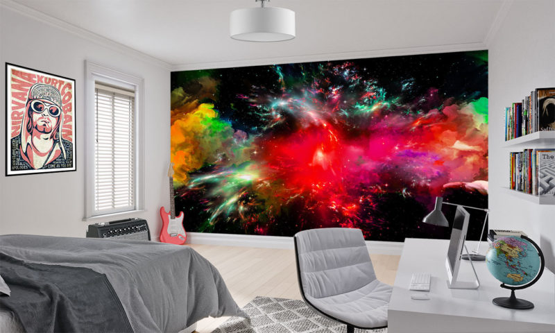 Red Galaxy Explosion art Mural