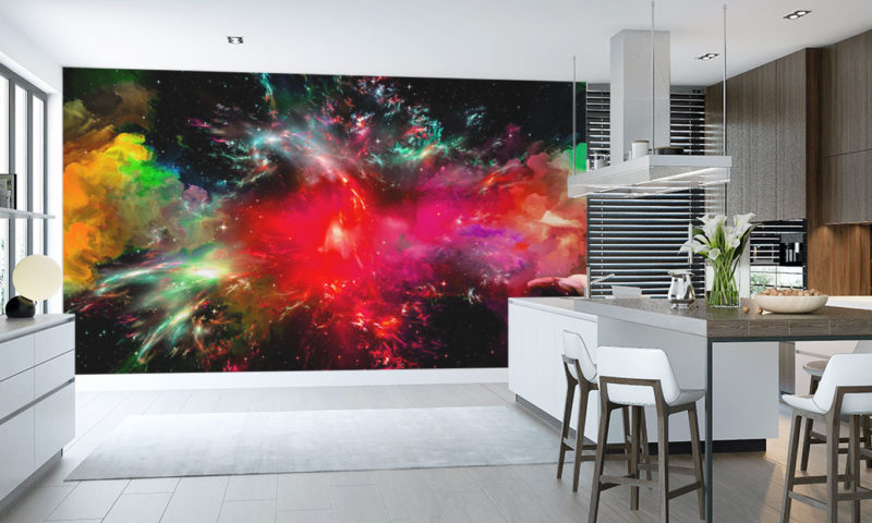 Red Galaxy Explosion Wall Mural