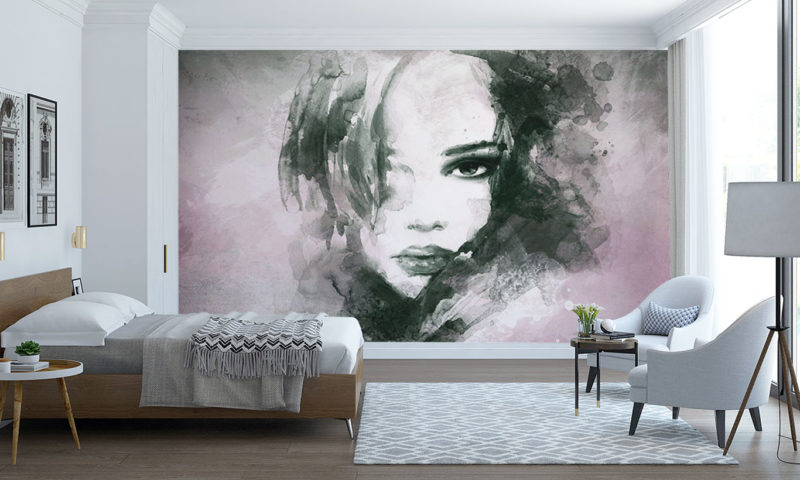 Black and White Water-based Portrait Wall Mural