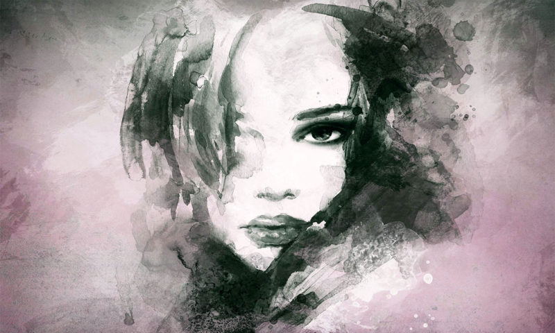 Black and White Water-based Portrait Wallpaper Mural