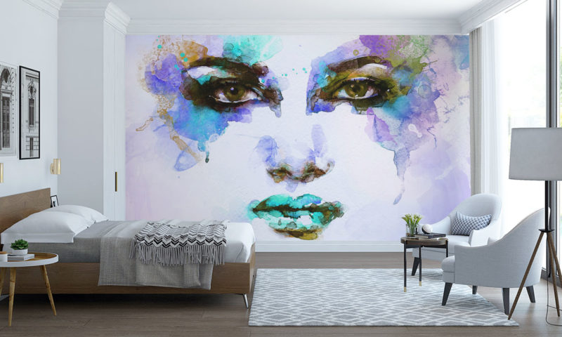Colourful Water-based Paint Face Art Mural
