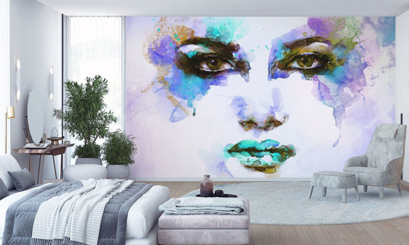 Colourful Water-based Paint Face Wallpaper Art