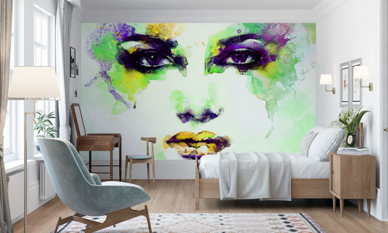 Green Water-based Face Portrait Wall Mural