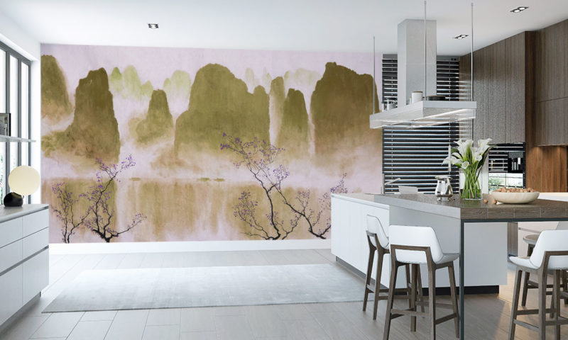 Traditional Mountain scape with Blossom Art Mural