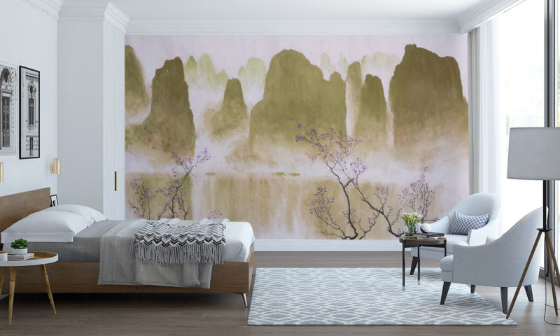 Traditional Mountain scape with Blossom Wall Mural