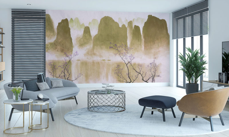 Traditional Mountain scape with Blossom Wallpaper Art