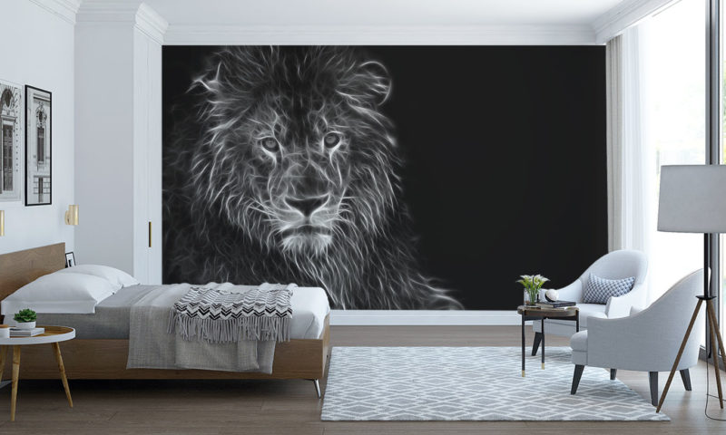 White-Flaming Lion Wall Mural