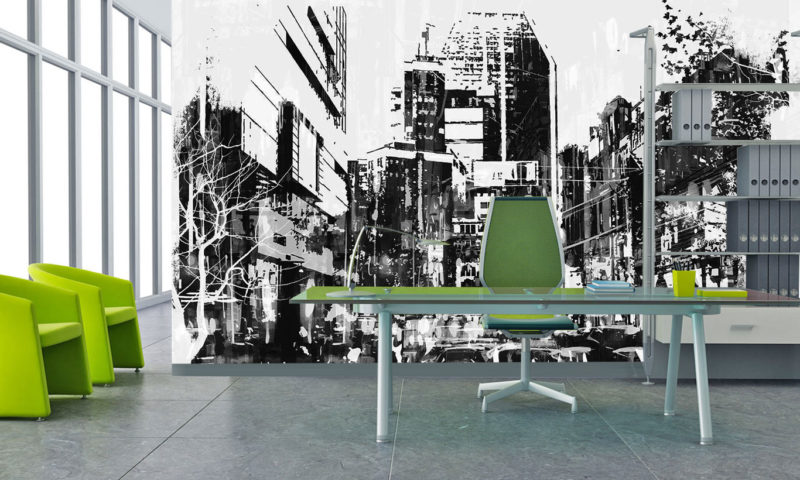 Black and White Modern Comic Cityscape Wall Mural