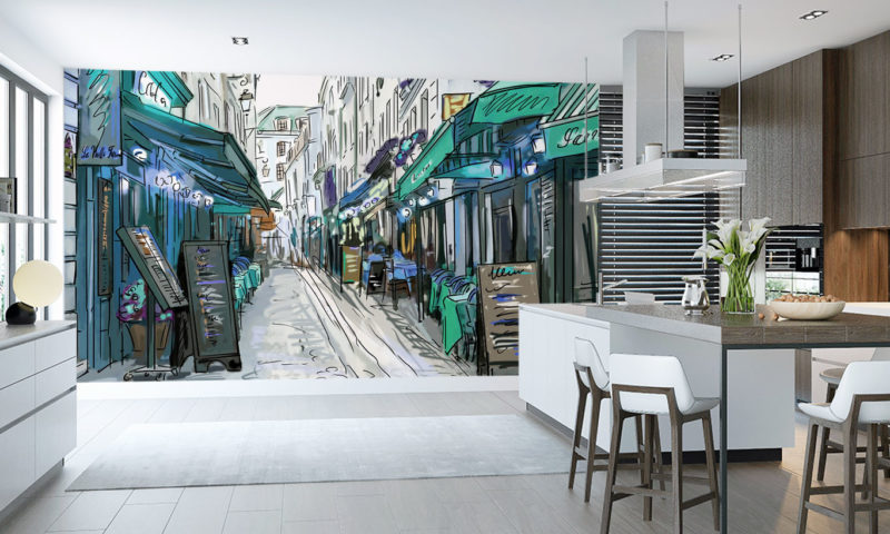 Blue/Green French Side-Street Wall Mural
