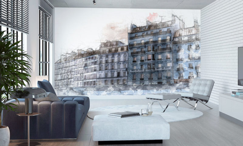 Modern Architecture Sea-front Houses (Blue) Art Mural