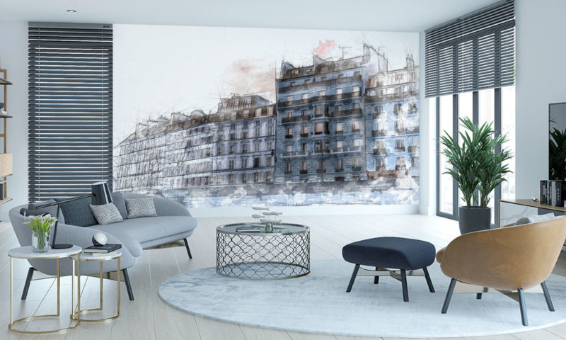 Modern Architecture Sea-front Houses (Blue) Wall Mural