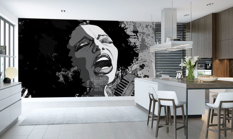Female Singing in Black and White Wall Mural