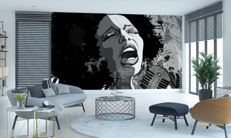 Female Singing in Black and White Wallpaper