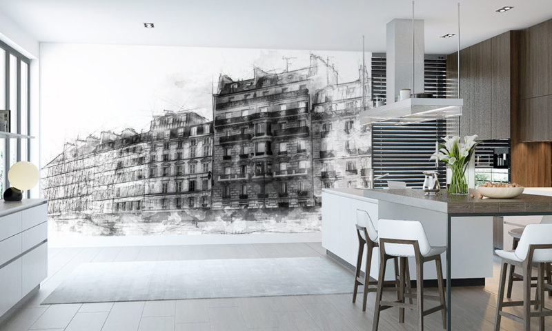Modern Architecture Sea-front Houses Art Mural