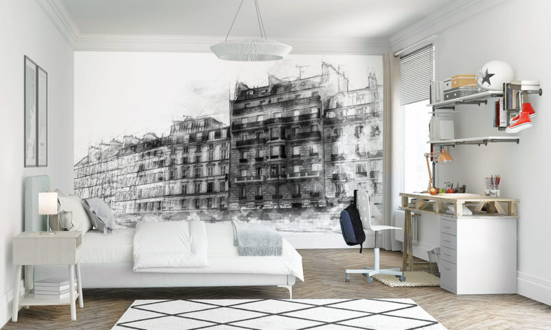 Modern Architecture Sea-front Houses Wall Mural
