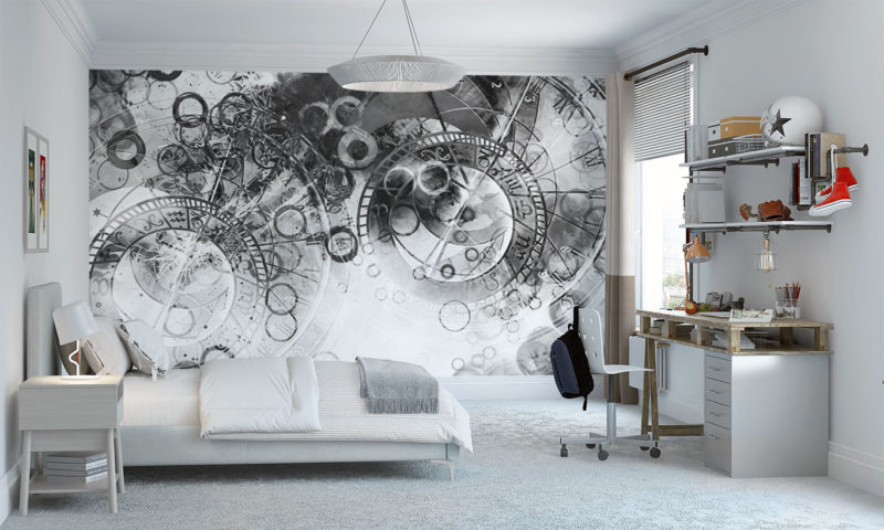 Black and White Mysterious Clockwork Wall Mural