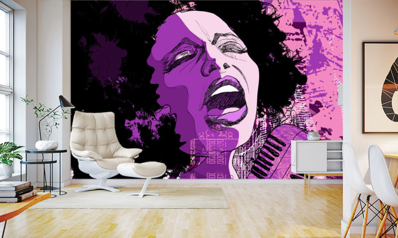 Woman Singing in Purple and Pink Mural