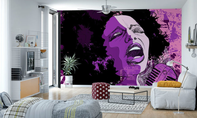 Woman Singing in Purple and Pink Wall Mural