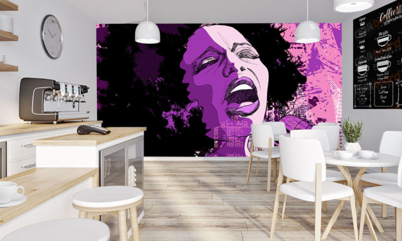 Woman Singing in Purple and Pink Wallpaper
