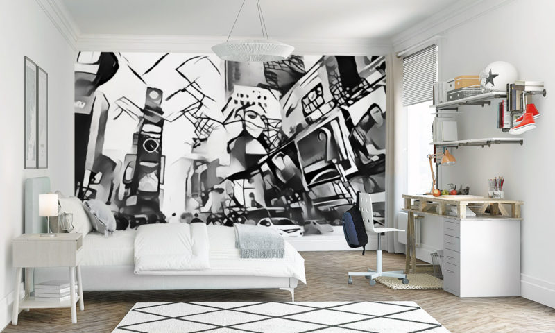Blurred Black and White City Square Wall Mural