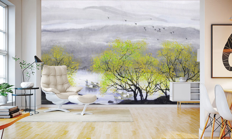 Traditional Japanese River-Forrest Wall Mural