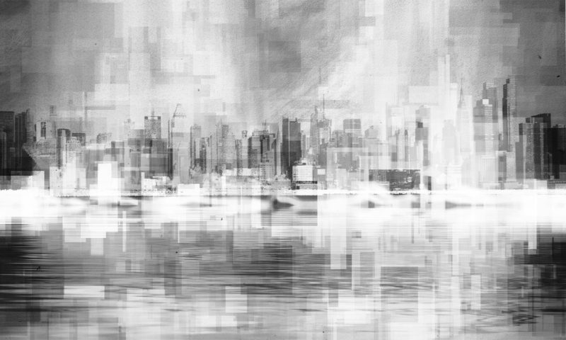 Pixelated Greyscale Cityscape Wallpaper Mural