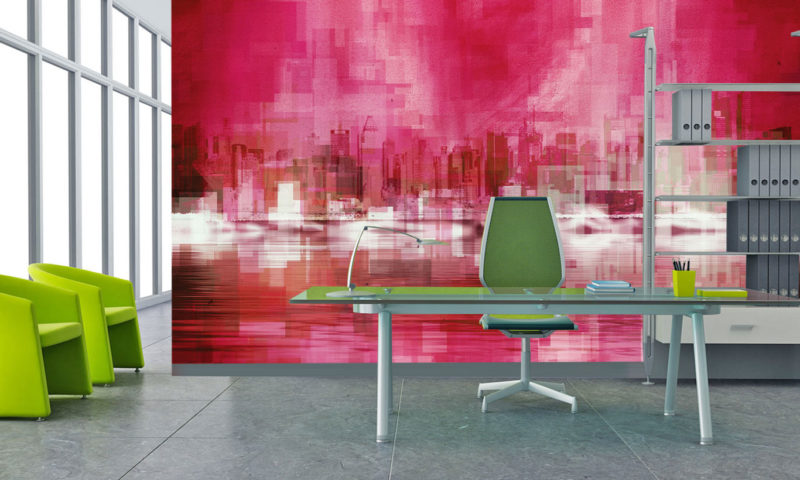 Pixelated Red Cityscape Art Mural