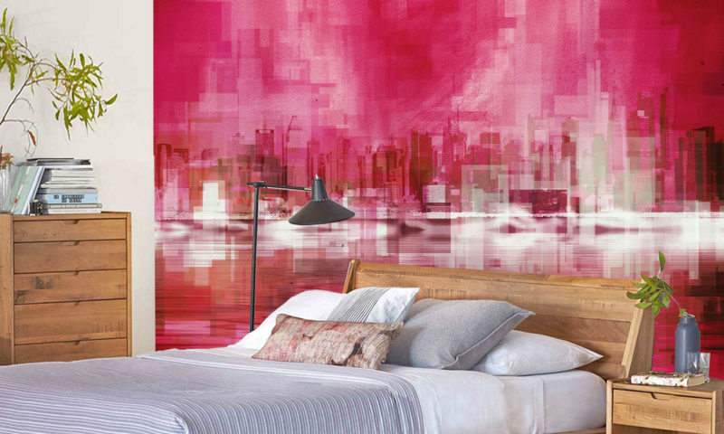 Pixelated Red Cityscape Wall Mural