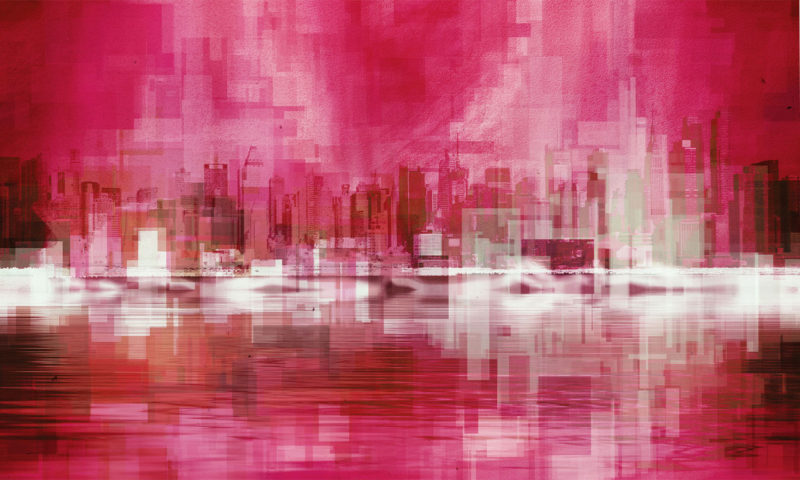Pixelated Red Cityscape Wallpaper Mural