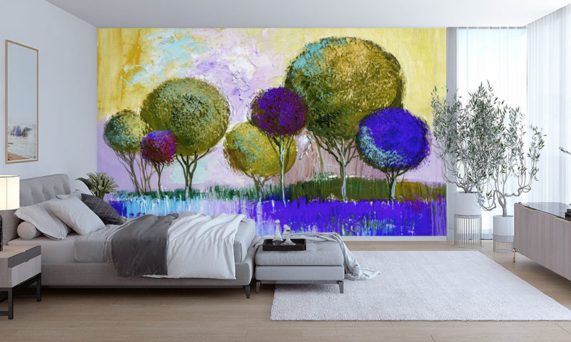 Blue Majestic Spherical Trees Wall Mural