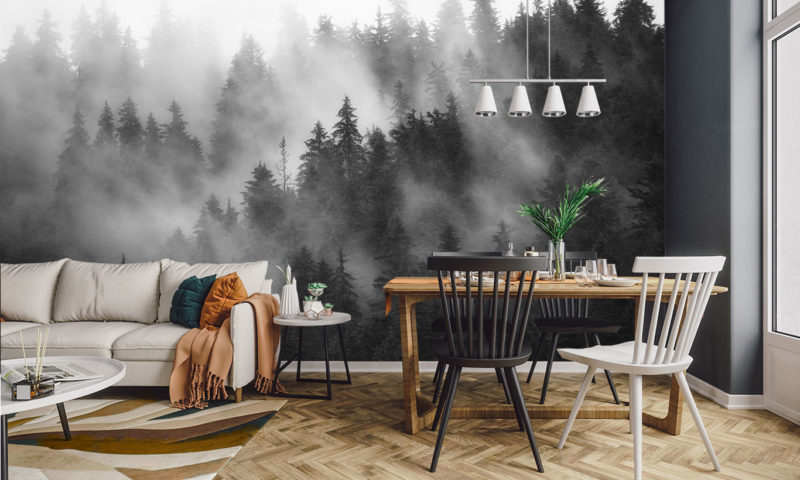Misty Spruce Tree Forest Mural